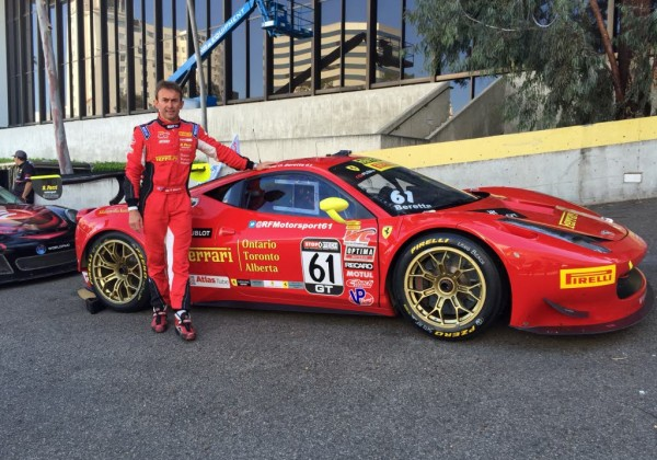 Olivier Beretta next his Ferrari 458 after scoring the pole for Pirelli Challenge.  [Eddie LePine Photo]