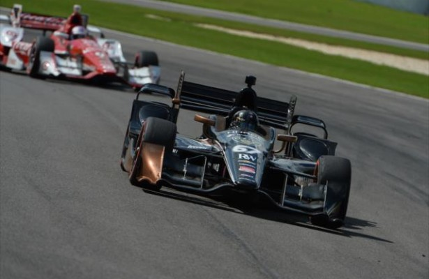 Josef Newgarden leads Scott Dixon during the Honda Indy Grand Prix of Alabama at Barber Motorsports Park. [Photo by: Chris Owens]