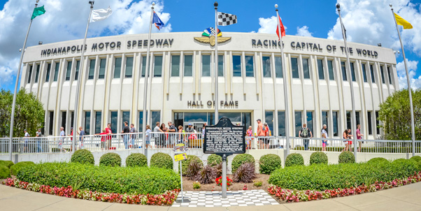 The Indianapolis Motor Speedway Hall of Fame Museum inside turns 1 & 2 of the Indianapolis Motor Speedway.