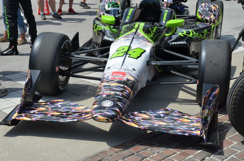 Townsend Bell's ride for the 2015 Indy 500 has a blur of color on the front depicting his run through the field last year in the 500. [John Wiedemann Photo]