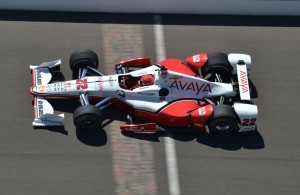 Simon Pagenaud's Chevrolet races across the bricks at the Indianapolis Motor Speedway. [Chris Owens-IMS Photo]