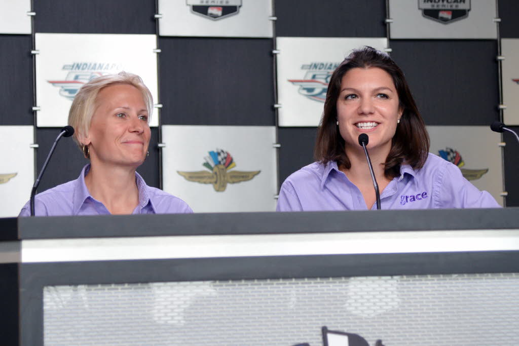 Beth Paretta and Katherine Legge talk about GRACE Autosport. [Russ Lake Photo]