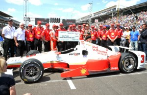 Helio Castroneves and Team Penske win the Tag Heuer Pit Stop Challenge. [Russ Lake Photo]
