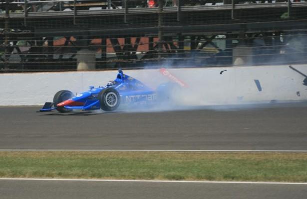 Tony Kanaan's bid for a 2nd Indy 500 win ended against the turn 3 wall. [Mark Walczak Photo]