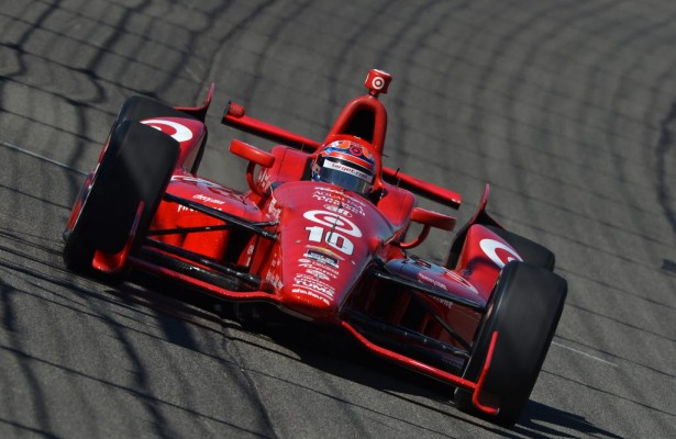 Tony Kanaan on course during practice for the MAVTV 500 at Auto Club Speedway. [Photo by: Chris Owens]