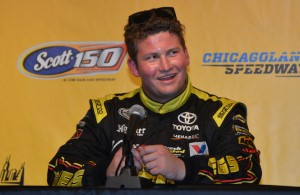 Cody Coughlin talks with the media at Chicagoland Speedway. [Russ Lake Photo]