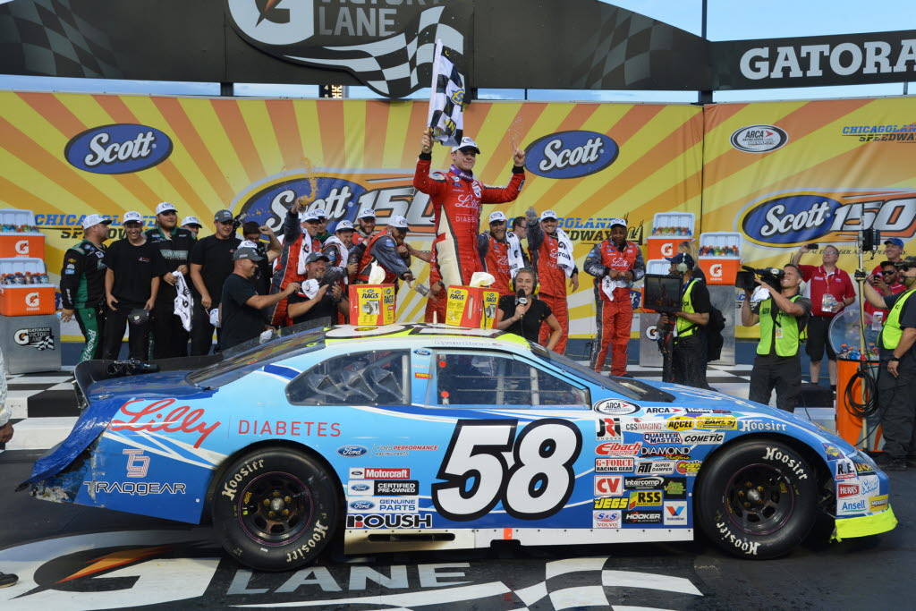 Ryan Reed celebrates at Chicagoland after winning the ARCA Racing Series Scott 150. [Russ Lake Photo]