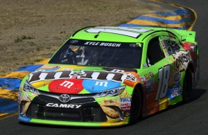 Kyle Busch leads the way to his first victory of the 2015 NASCAR Sprint Cup season at Sonoma Raceway. [credit Robert Laberge/Getty Images]