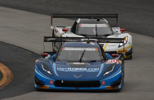 Winning VisitFlorida.com Prototype leads Action Express Racing entry through boot. [Joe Jennings Photo]