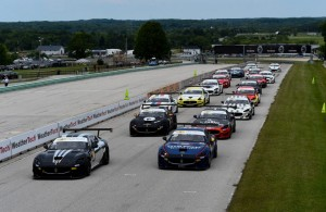Start of race 2 at Road America in the third round of the Maserati Trofeo World Series. [Photo credit: Maserati/GrimFoto]