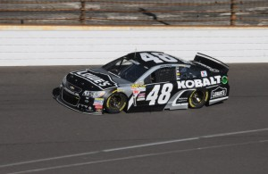 Jimmie Johnson, 2nd quick in Brickyard 400 practice. [Father Dale Grubba photo]