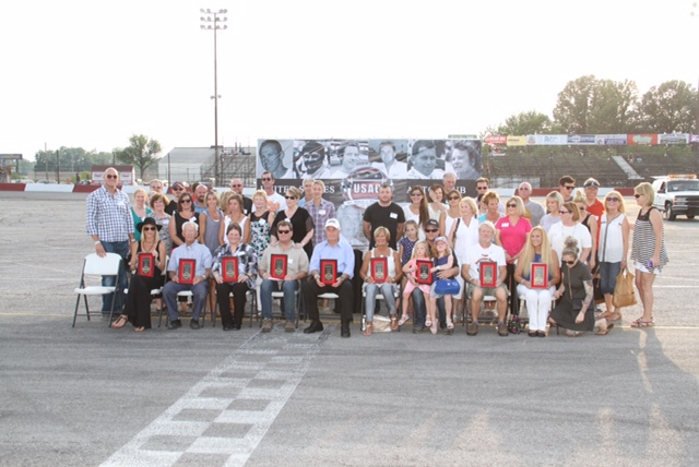 Inductees, families and friends gather for group photo after USAC HoF ceremonies.  [John Mahoney Photo]