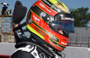 Gabby Chaves dons his helmet as he prepares to race at Mid-Ohio. [Joe Jennings Photo]