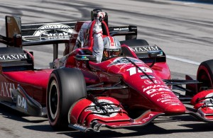 Graham Rahal takes a victory lap around Mid-Ohio. [Andy Clary Photo]