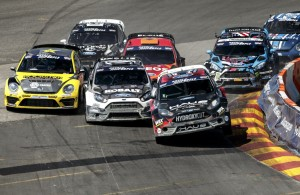 GRC Supercar drivers take the first turn at Red Bull Global Rallycross in Washington DC. [Credit Larry Chen / Red Bull Content Pool]