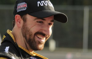 James Hinchcliffe is all smiles after getting back behind the wheel again. [John Wiedemann Photo]