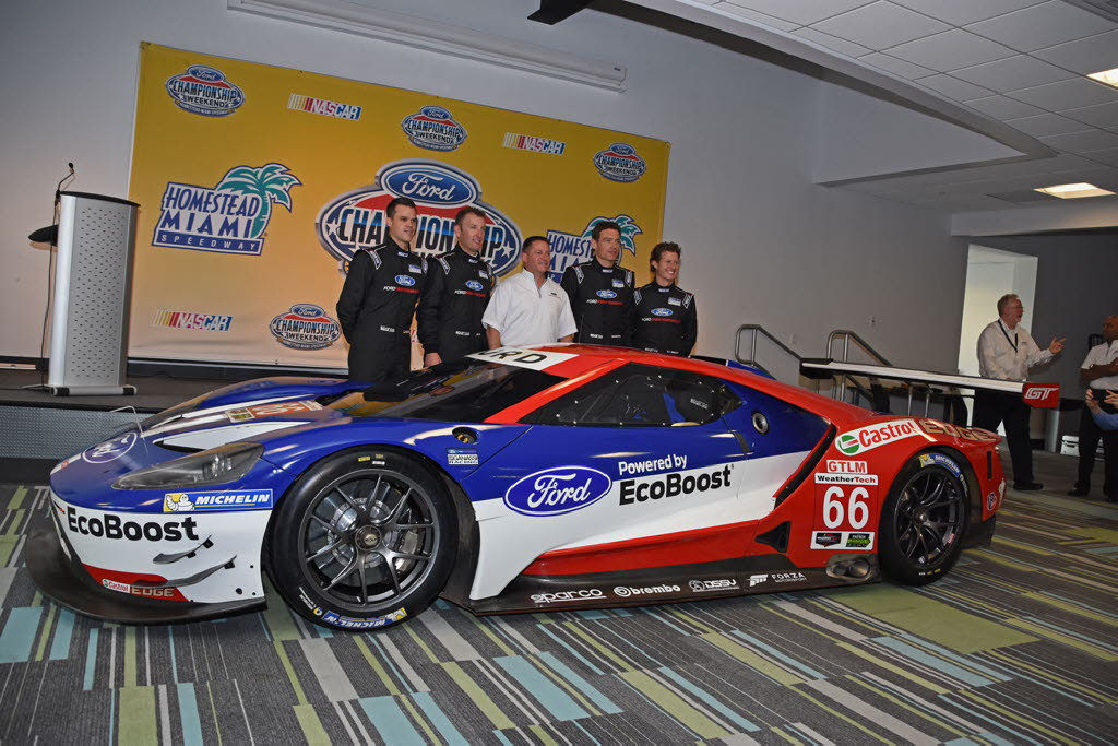 Ford Gt That Will Make Its Debut At The Rolex In January In Background The Four Drivers Along With Dave Pericak Of Ford Joe Jennings Photo
