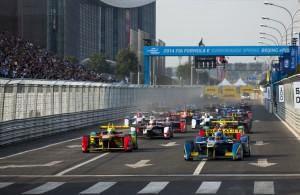 Nicolas Prost leads the Formula e race in Beijing. [Photo by FIA-Formula e]