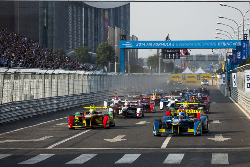 Nicolas Prost leads the Formula e race in Beijing. [Photo by FIA-Formula e]