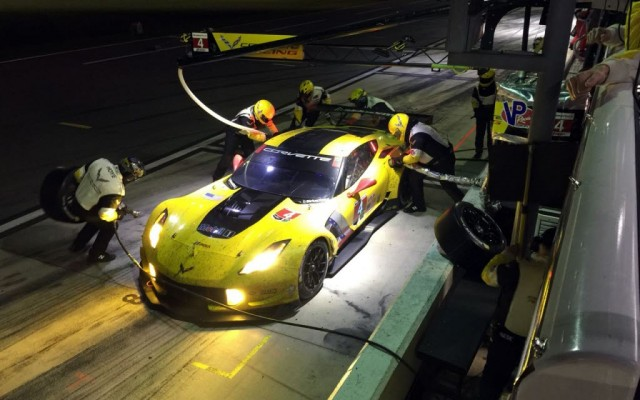 Night pit stop for the winning Corvette.  [Eddie LePine photo]