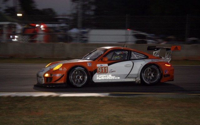 Mike Rockenfeller in the Porsche 997 Hybrid at Petit Le Mans.  [Photo by Jack Webster]