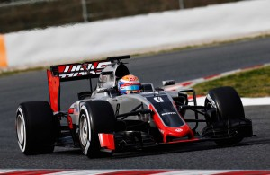 Romain Grosjean takes the Haas F1 Team ride out on the track for the first time at the Circuit de Barcelona – Catalunya.[Credit: LAT Photographic]