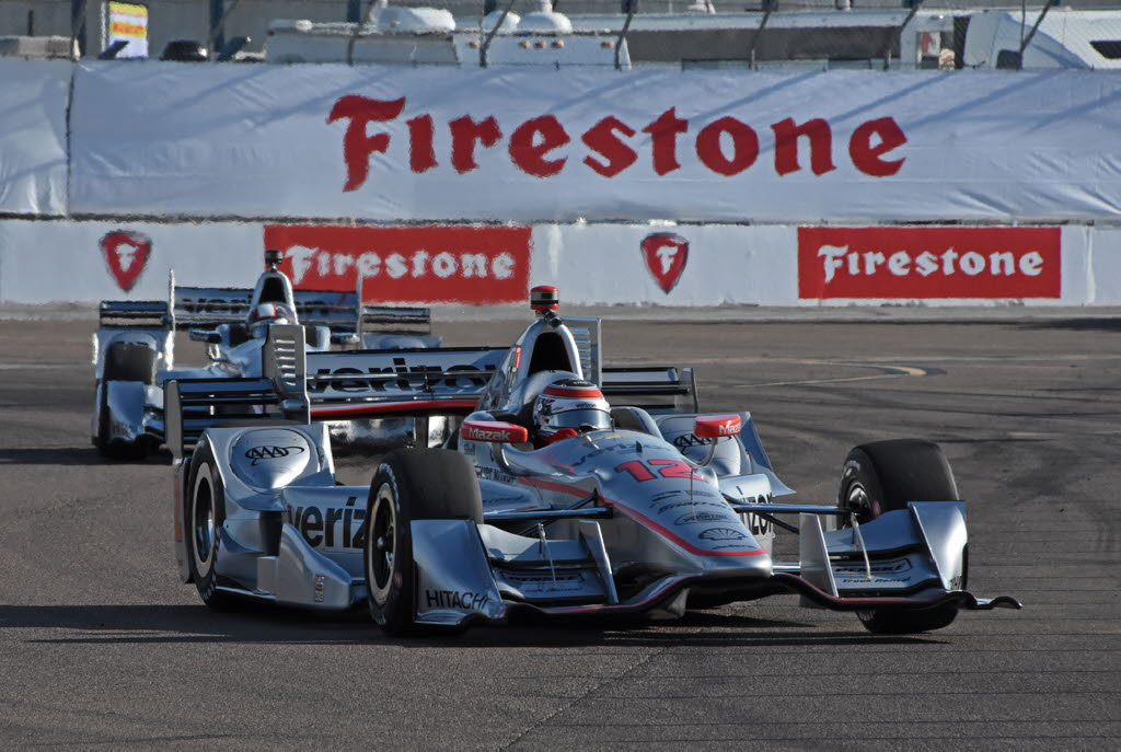 Will Power leads teammate Juan Pablo Montoya into turn 2 at St. Petersburg. [Joe Jennings Photo]