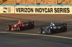 Scott Dixon and Tony Kanaan enter Turn 3 during the Desert Diamond West Valley Phoenix Grand Prix at Phoenix International Raceway. [Photo by: Chris Owens IMS Photo 2016]