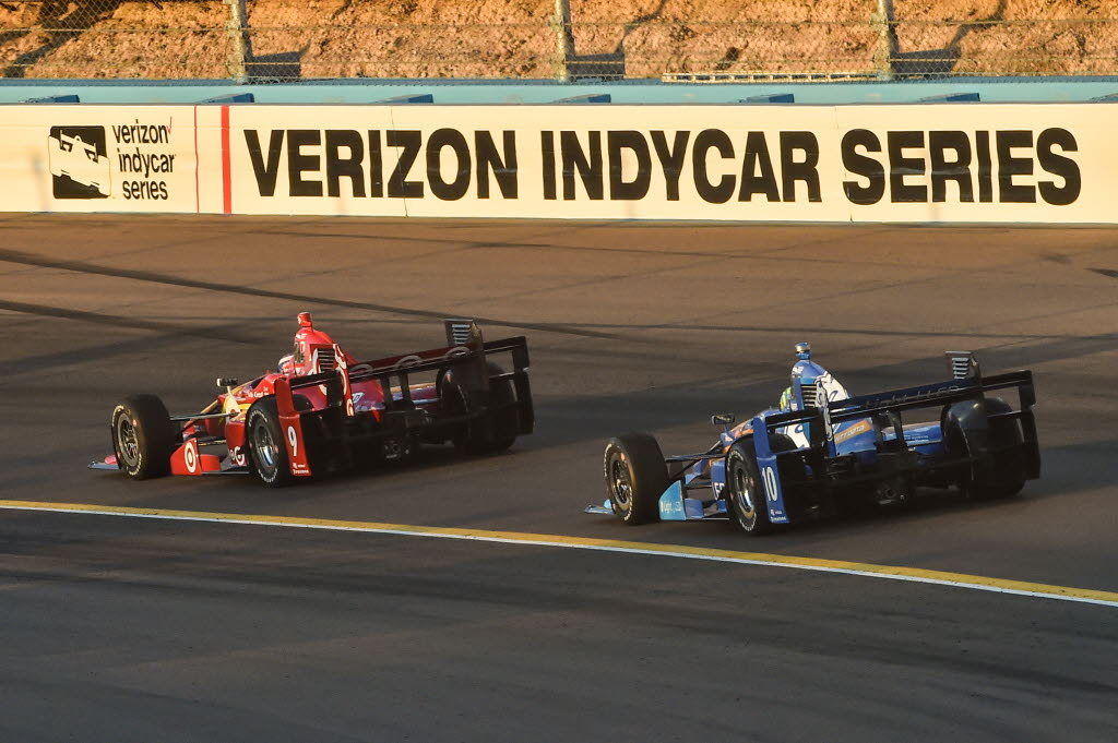 Scott Dixon and Tony Kanaan enter Turn 3 during the Desert Diamond West Valley Phoenix Grand Prix at Phoenix International Raceway. [Photo by: Chris Owens IMS Photo 2016]