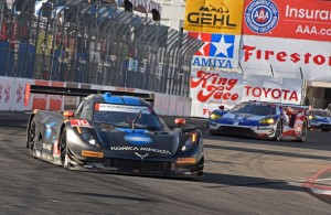 Wayne Taylor Racing Corvette DP leads a pair of Ford GTs in the late going. [Joe Jennings Photo]