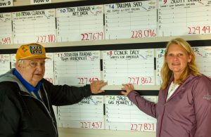 """Bill York and Julie Cordess keep up the tradition of hand-penned """"qualifying cards"""" at Indianapolis. [Andy Clary Photo]"""