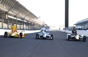 Front row starters for the 100th Indianapolis 500: Ryan Hunter-Reay (3rd), Josef Newgarden (2nd), and James Hinchcliffe (pole). [Russ Lake Photo]