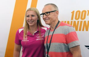Mark Martin, with Pippa Mann, stopped by Indianapolis to check out the 100th running of the Indy 500. [Russ Lake Photo]