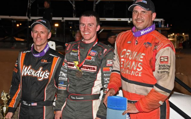 Top 3 at the Hoosier 100 – Jerry Coons Jr., winner Kody Swanson and Shane Cottle.  [Joe Jennings Photo]