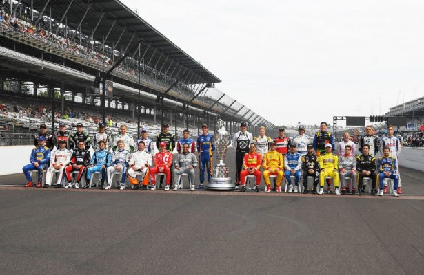 The field for the 100th running of the Indianapolis 500 on the yard of bricks. [Russ Lake Photo]