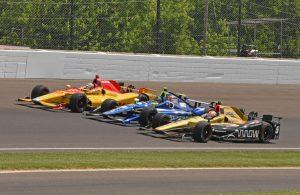 Front row drivers James Hinchcliffe, Josef Newgarden and Ryan Hunter-Reay line-up on pace lap. [Joe Jennings Photo]