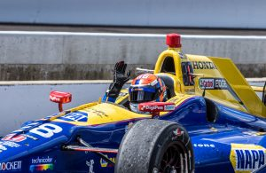 Alexander Rossi celebrates his victory in the 100th running of the Indianapolis 500. [Andy Clary Photo]