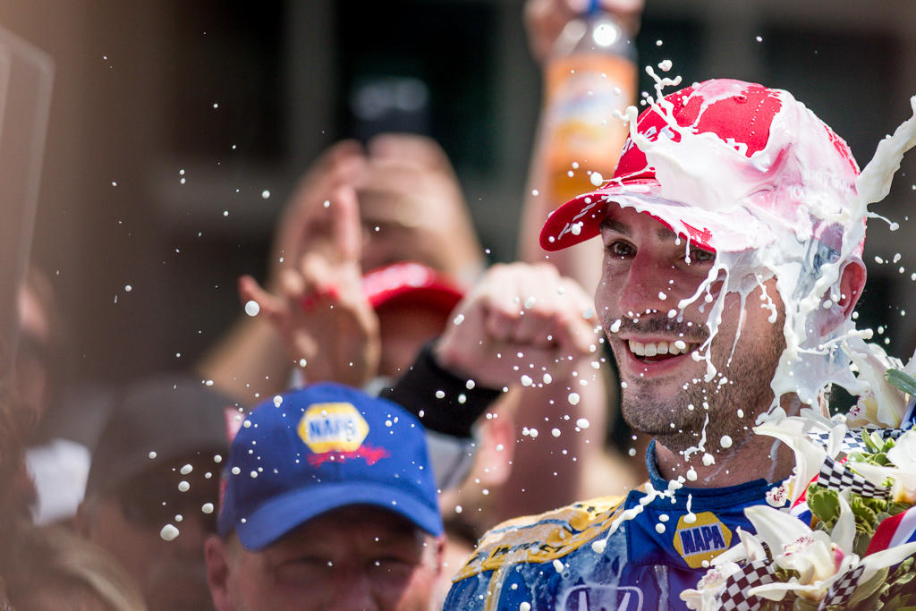 Alexander Rossi celebrates in victory lane at the Indianapolis Motor Speedway. [Andy Clary Photo]