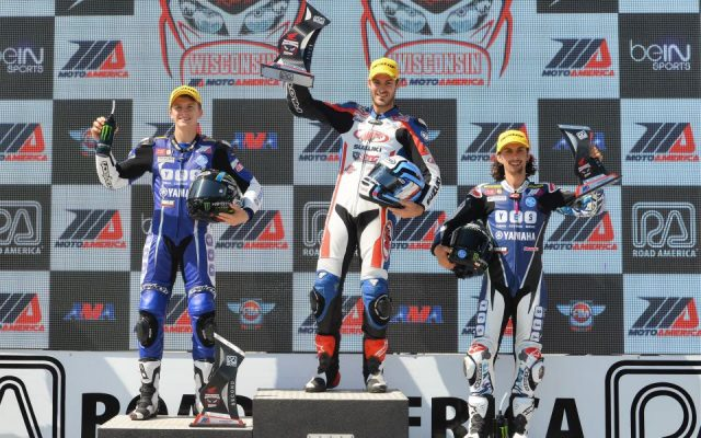 Supersport/Superstock 600 Race #2; Left to Right #31 Garrett Gerloff Yamaha 2nd place, #717 Valentin Debise Suzuki 1st, JD Beach Yamaha 3rd place .  [Dave Jensen Photo]