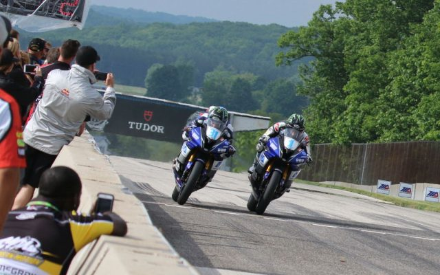 Four one-thousandths of a second separated Yamaha teammates Garrett Gerloff and JD Beach at the finish line Road America.  [Jon Kanter Photo]
