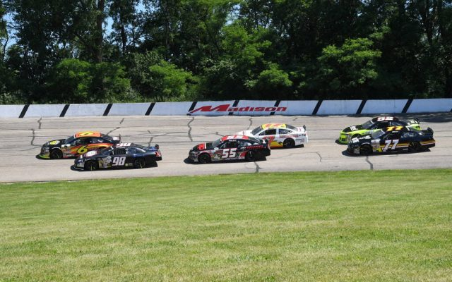 Action in the Montgomery Ward Father's Day 200 Sunday afternoon at Madison International Speedway.  [Russ Lake Photo]