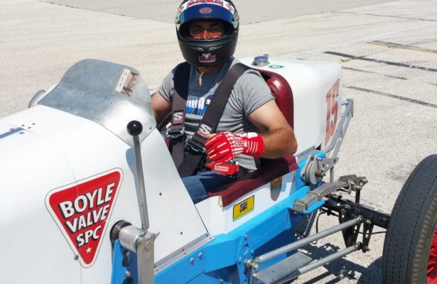 Driving the Miller at Milwaukee. [Eddie Le Pine photo]