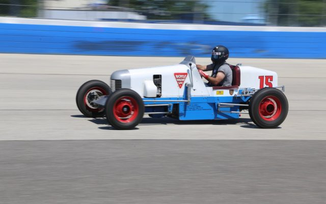 Eddie LePine on track at the Milwaukee Mile.  [Photo by Dean Coryell]