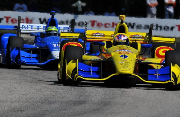 Scott Dixon (9) and teammate Tony Kanaan (10) were quickest in the final practice session at Road America. [John Wiedemann Photo]