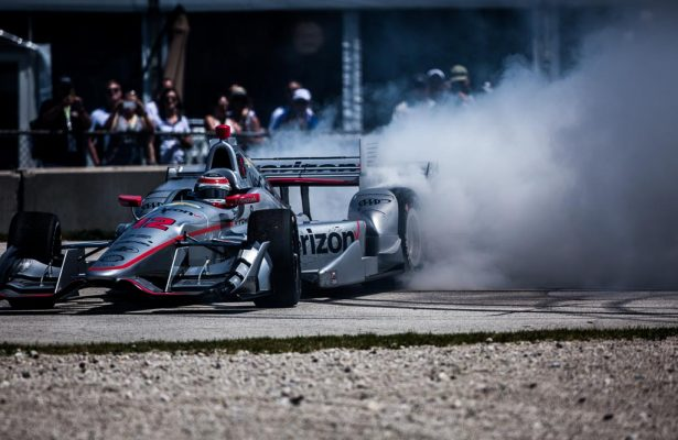 Will Power celebrates his victory at Road America. [Andy Clary Photo]