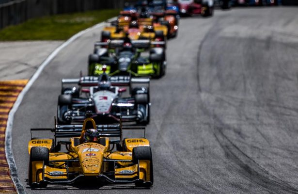 Graham Rahal leads the field into turn 5 at Road America. [Andy Clary Photo]