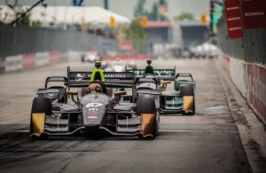 Teammates Josef Newgarden and Luca Filippi go nose-to-tail entering Turn 1 during the Honda Indy Toronto. [Photo by: Shawn Gritzmacher]