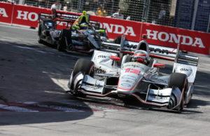 Will Power battles Sebastien Bourdais in the Honda Indy Toronto. [Photo by: Joe Skibinski]