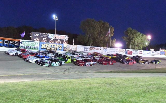 4-wide pace lap for the 2016 Slinger Nationals at Slinger Speedway.  [Russ Lake Photo]