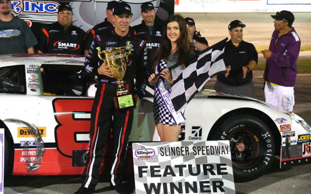 Matt Kenseth in victory lane after winning his seventh Slinger Nationals.  [Russ Lake Photo]